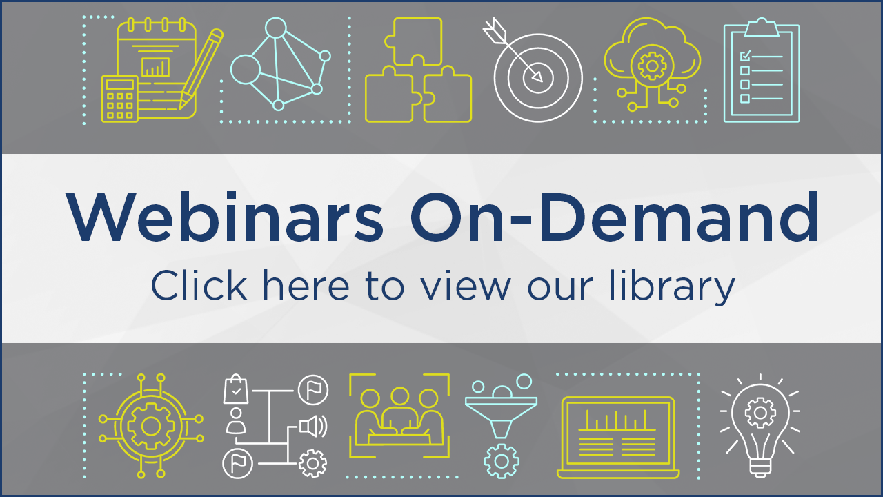 DGC's On-Demand Webinar Library link with icons